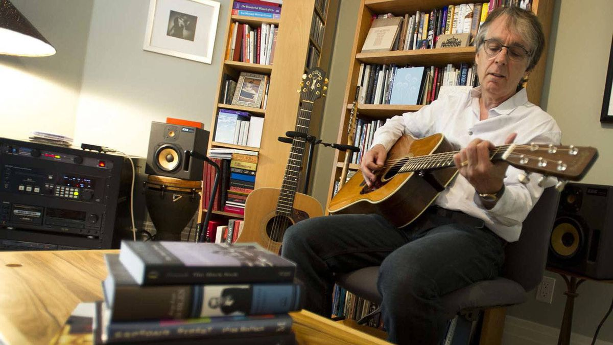 Songwriter and fiction writer Christopher Ward in his Toronto home office, where he spends most of his time writing, reading and creating his music