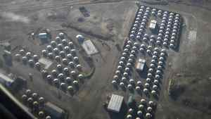 An aerial view of traditional Mongolian tents, or ghers, which will house workers at Mongolia's Oyu Tolgoi copper and gold deposit.