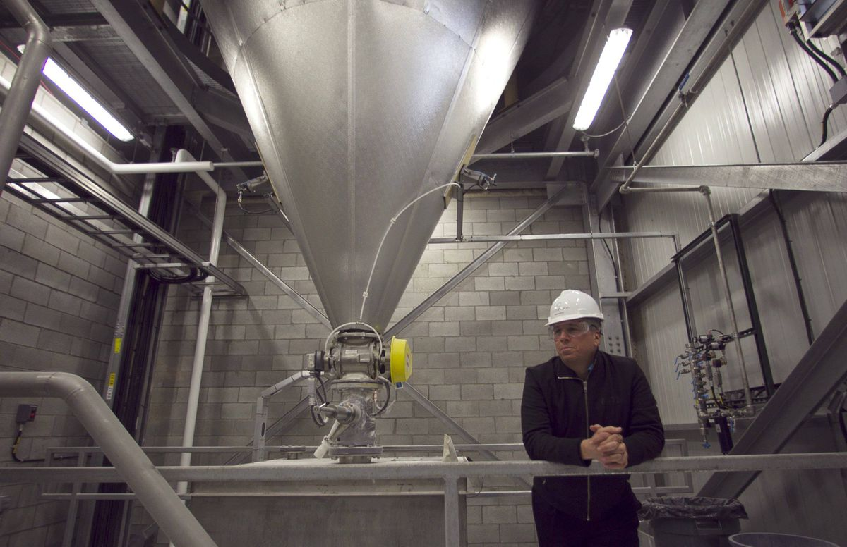 Jean Moreau, president and CEO of CelluForce Inc., in the spray dryer room of the company's Windsor, Que., plant.