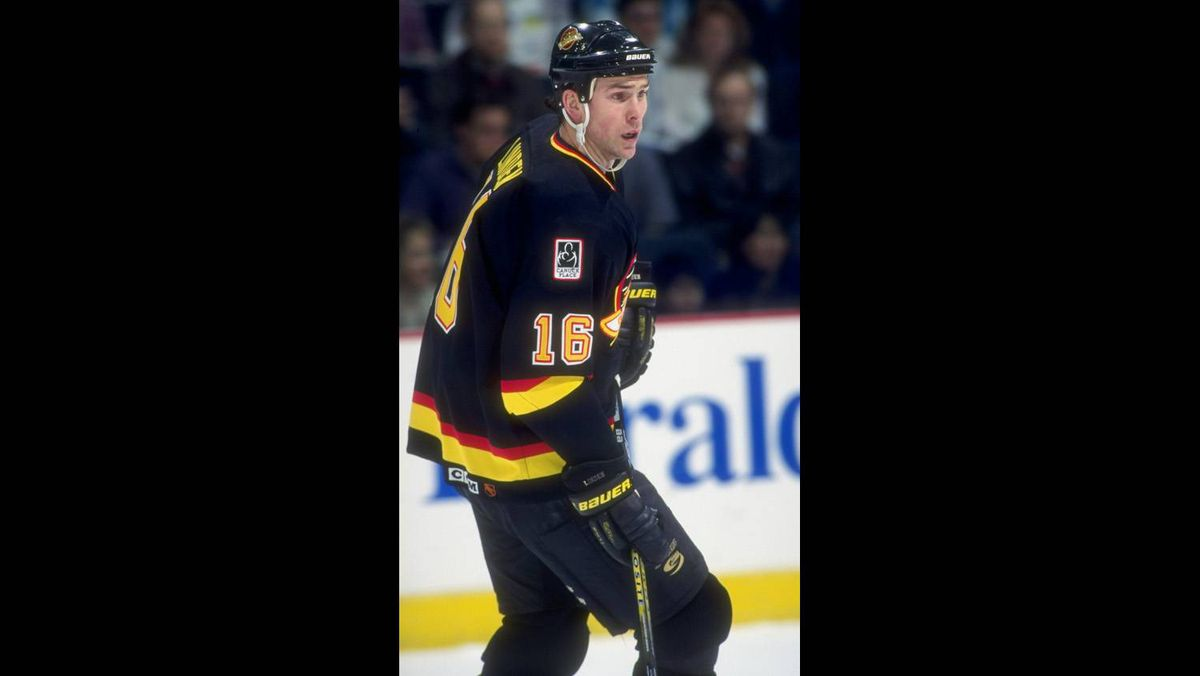 Trevor Linden of the Vancouver Canucks in action against the Calgary Flames in 1997.