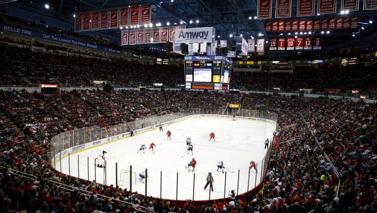 General view of the game between the Detroit Red Wings and the Winnipeg Jets at Joe Louis Arena. The Red Wings won 7-1. Rick Osentoski-US PRESSWIRE