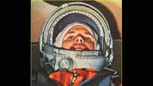 This file photo from April 12, 1961, shows Soviet cosmonaut Yuri Alexeyevich Gagarin in the Vostok 1 command capsule. Gagarin became the first man in space. Gagarin orbited earth one time at an altitude of 187 3/4 miles (302 kilometers) for 108 minutes at 18,000 miles an hour.
