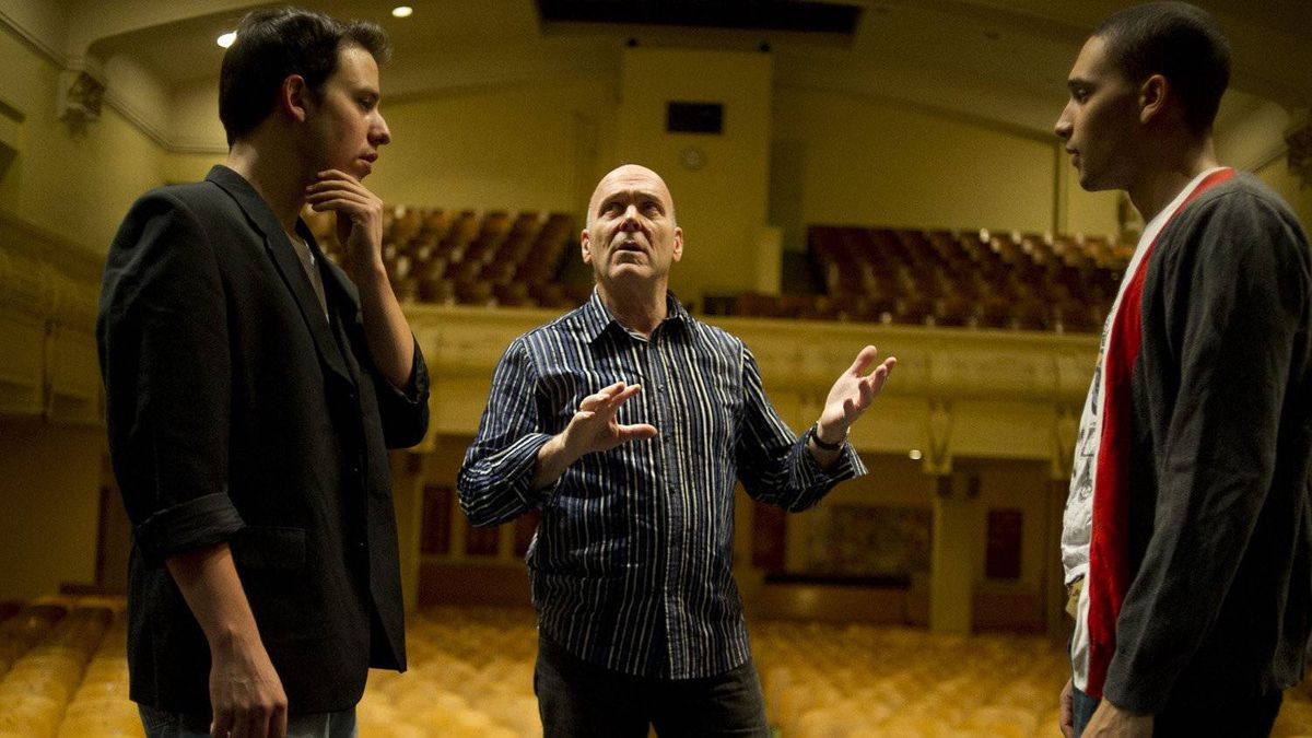 Actor Joe Bucci (L), Artistic Director Michael Kelly and Actor Kaleb Alexander of Shakespeare in Action rehearse at Central Commerce Collegiate in Toronto on January 28th, 2011.