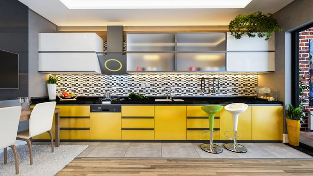 Ask a designer: I'm bored of my white kitchen cabinets. How do I go bold with colour?