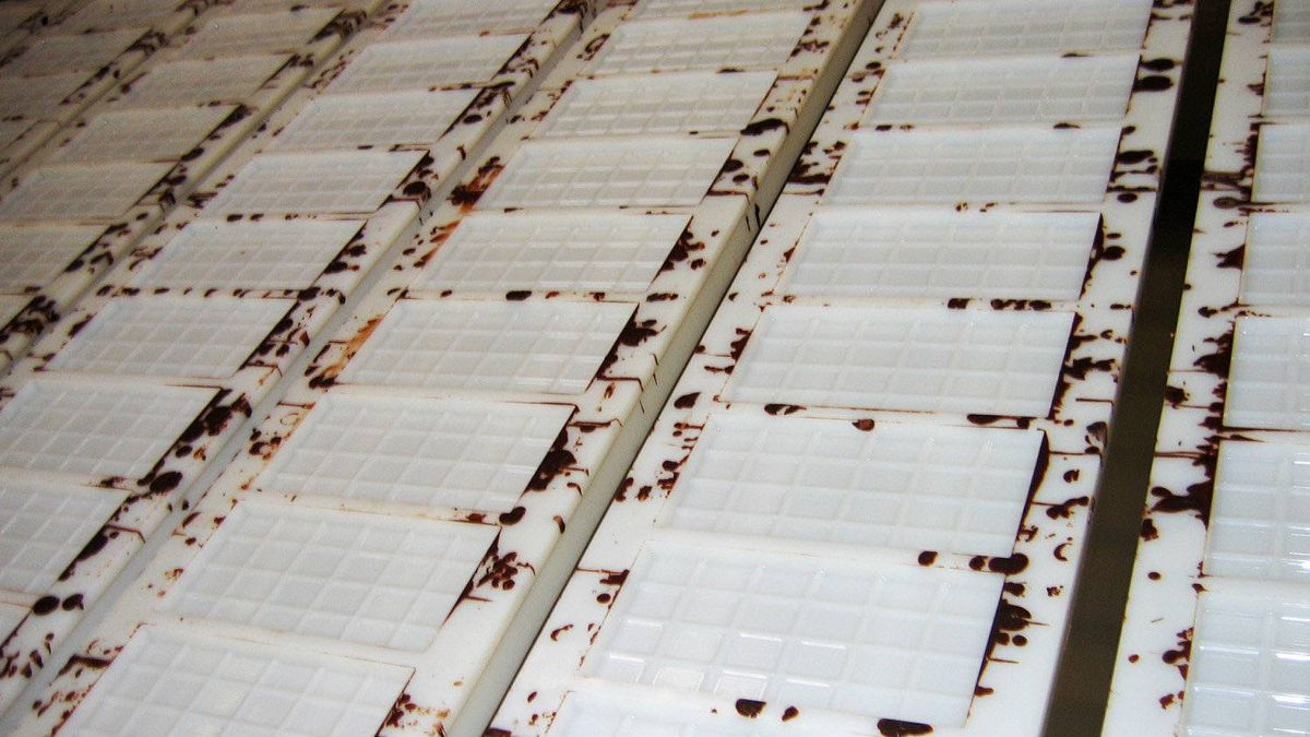 Processed cocoa is sent to a manufacturing facility in Switzerland to be turned into chocolate bars. Here, empty molds for the 100-gram chocolate bars are shown.