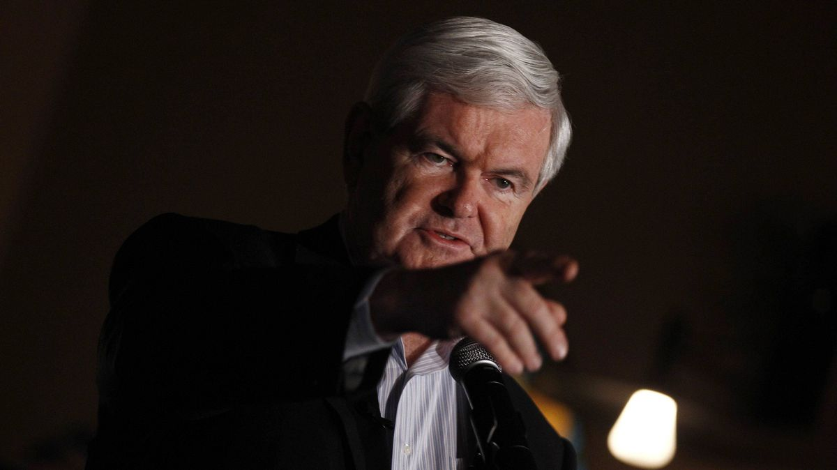 U.S. Republican presidential candidate and former Speaker of the House Newt Gingrich speaks at a campaign stop at La Chiesa Restaurant in Spencer, Iowa, on Wednesday.