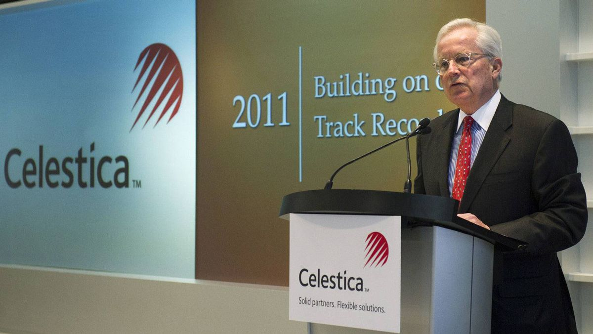 Craig Muhlhauser, Celestica CEO, speaks at the company's annual general meeting in Toronto on April 24.