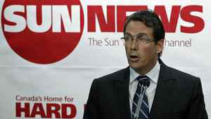 Quebecor president Pierre Karl Peladeau announces the creation of the Sun News Network at a Toronto news conference on June 15, 2010.
