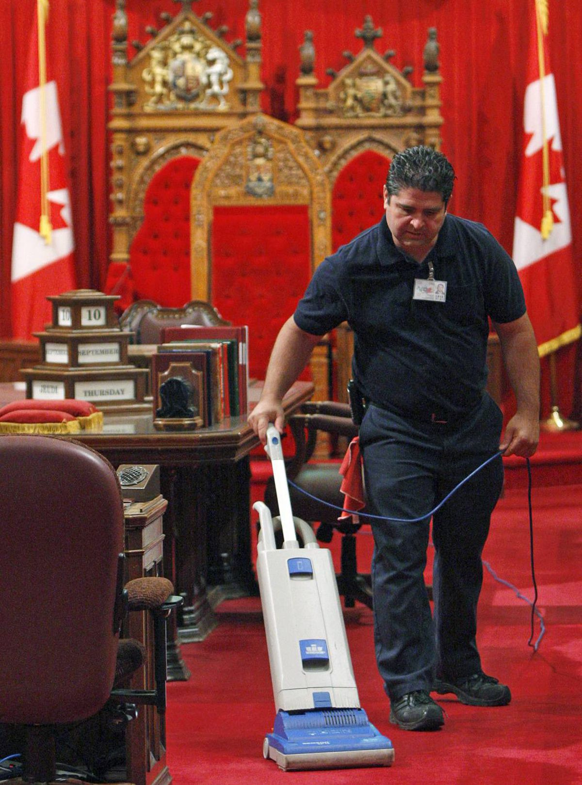 The Senate carpet gets a once-over on Sept. 10, 2009.