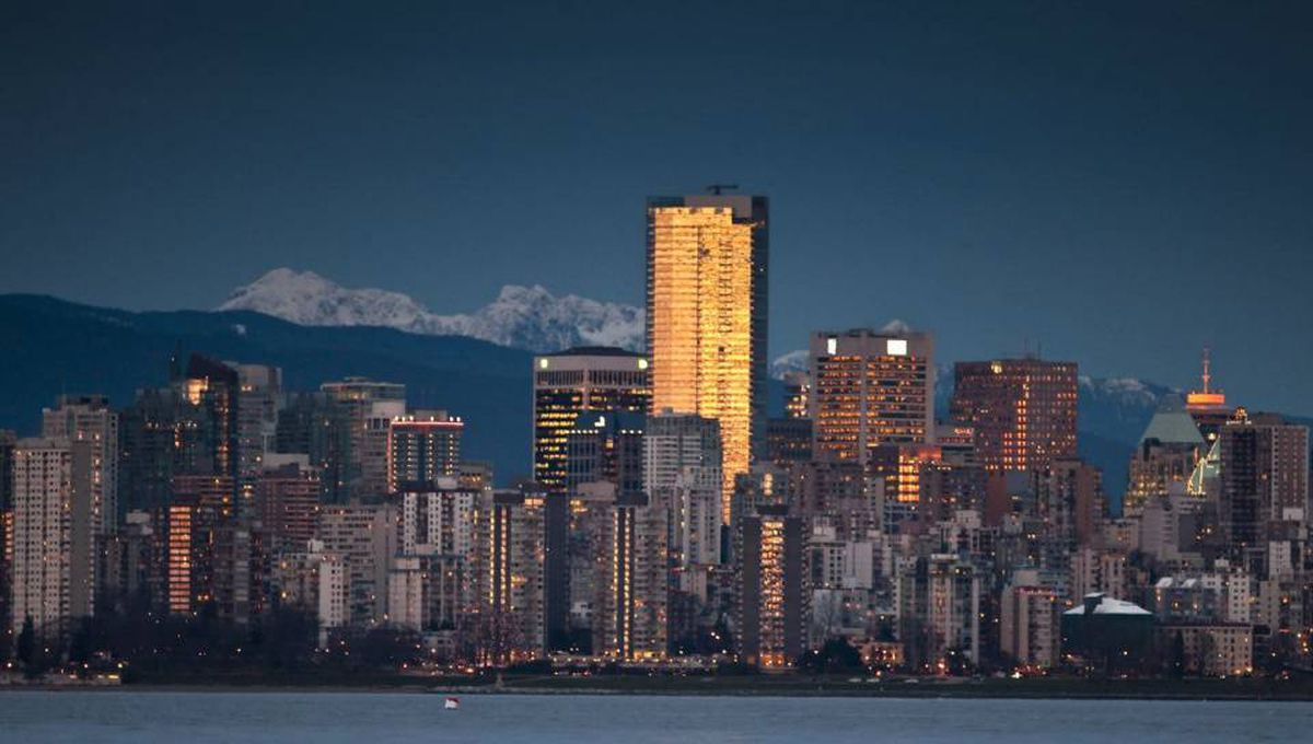 The Vancouver skyline at sunset.