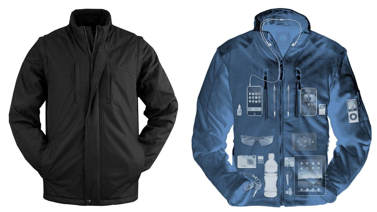 Scottevest clothes Doesn't matter how many gadgets your spouse carries around, when they're wearing Scottevest there's a pocket for that. The trim travel vests have 22 pockets, including one designed for a tablet computer, and the expedition jacket has an astounding 37 compartments. Even the boxer briefs have a pouch for a smart phone. (US$15–$225; scottevest.com)