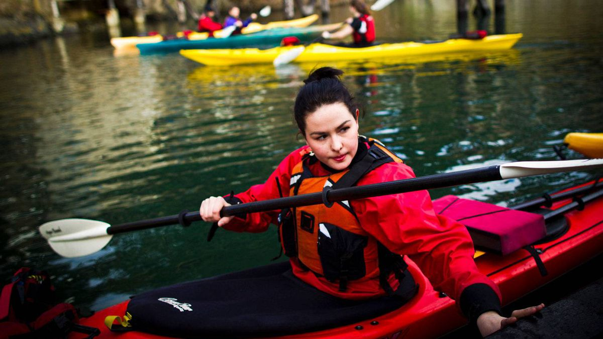 Avijaja Jepsen, 18, from Greenland, in a kayak at Pearson College on Vancouver Island near Victoria February 08, 2012 after class.