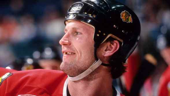 Bob Probert of the Chicago Blackhawks played in 16 NHL seasons and had as many as 200 fights during that time.