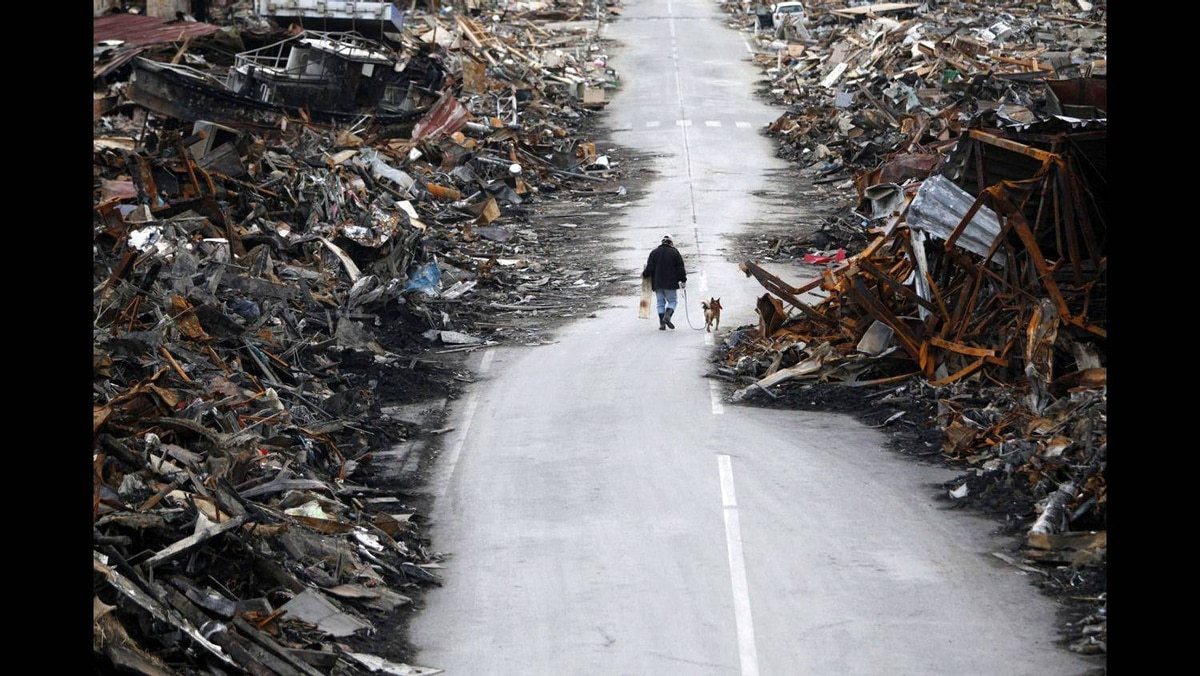 A man walks with his dog at a destroyed residential area of Kesennuma, Miyagi Prefecture, March 22, 2011, nearly two weeks after the area was devastated by a magnitude 9.0 earthquake and tsunami.