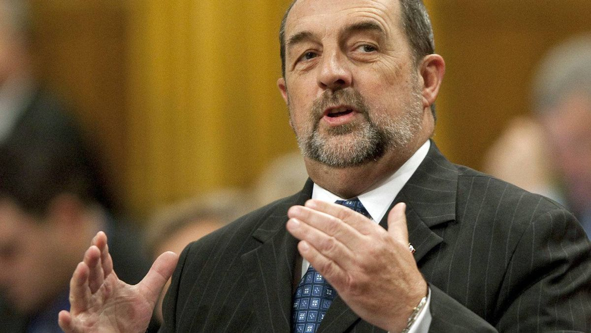 Transport, Infrastructure and Communities Minister Denis Lebel speaks in the House of Commons on Nov. 16, 2011.