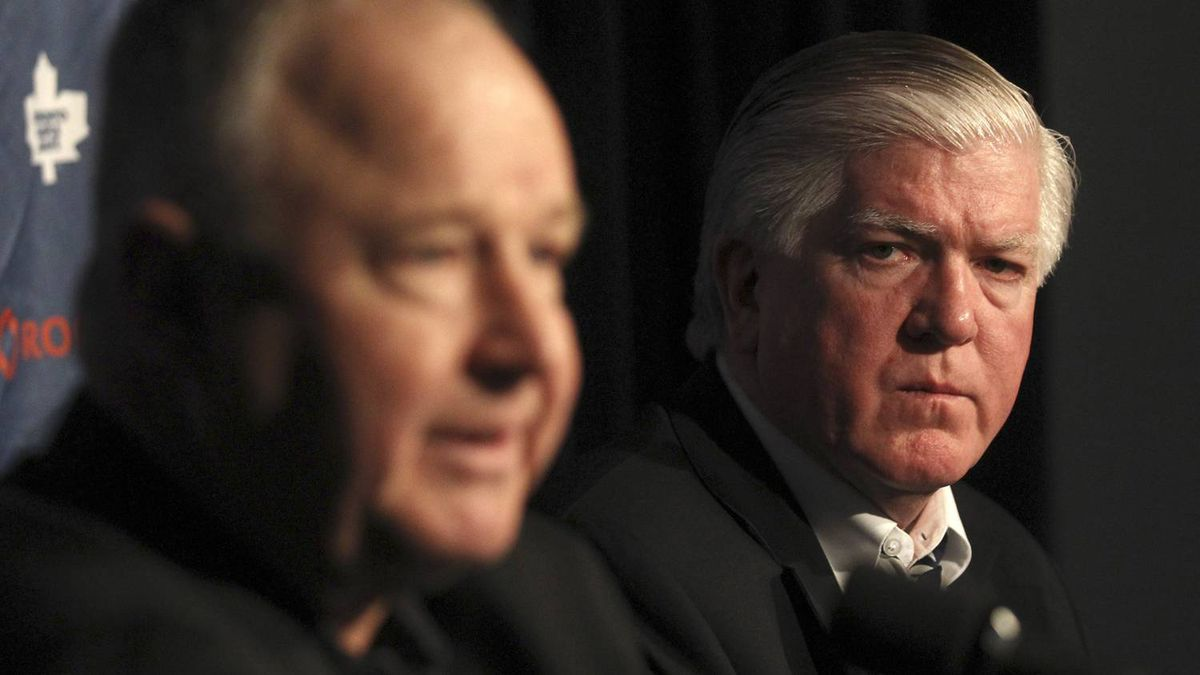 Brian Burke introduces new Leafs coach Randy Carlyle in Montreal.