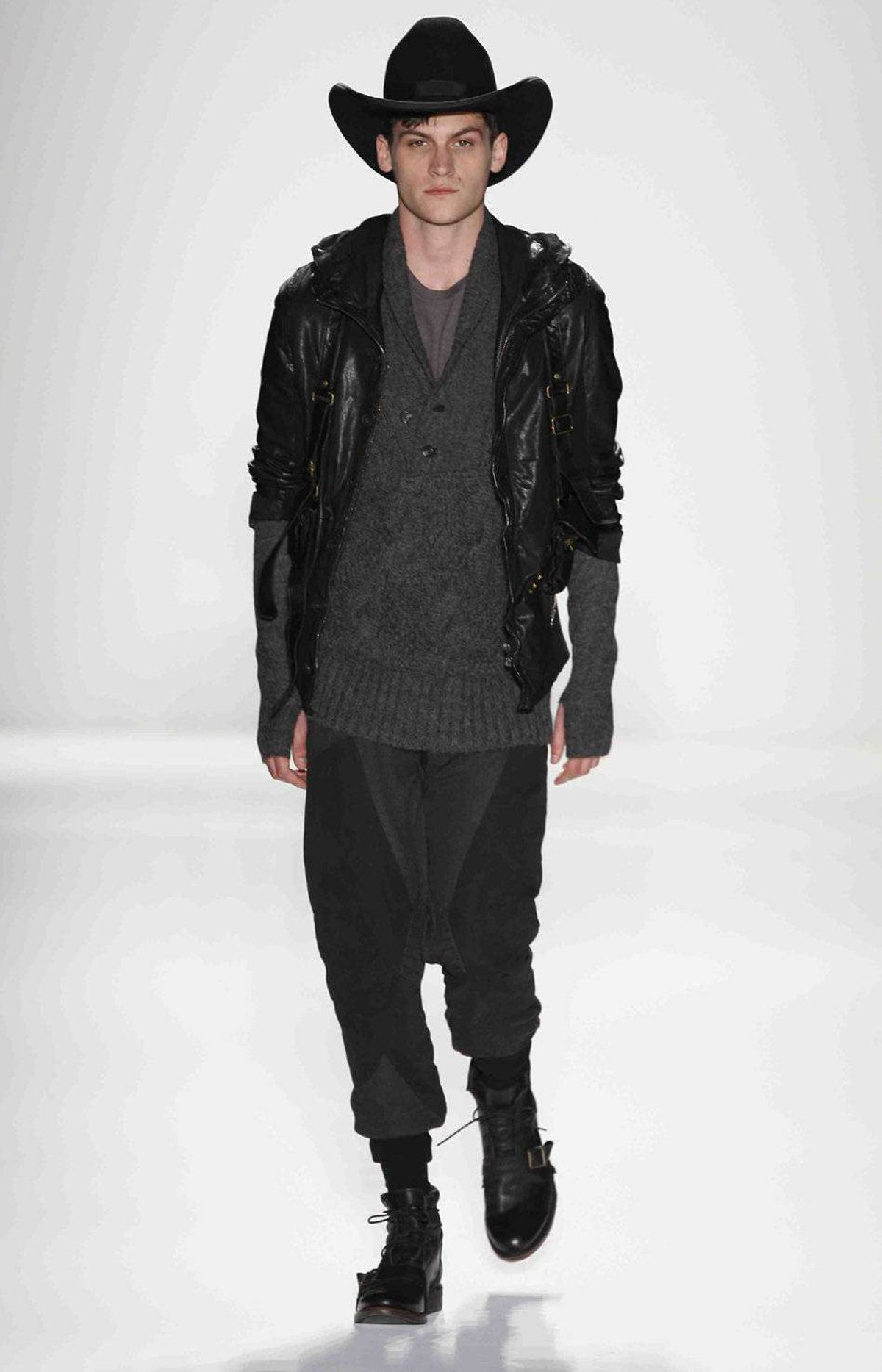 Nicholas K also designs men's wear. Most of the looks had an apocalyptic cowboy look, including saggy trousers, which continue to appear on runways, whether or not men take to them.
