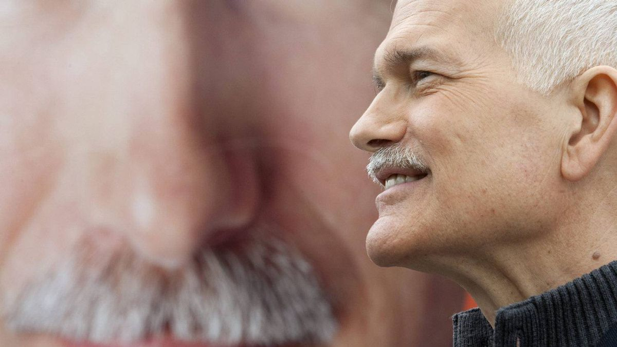 NDP Leader Jack Layton fields a question a campaign stop in Montreal on April 14, 2011.