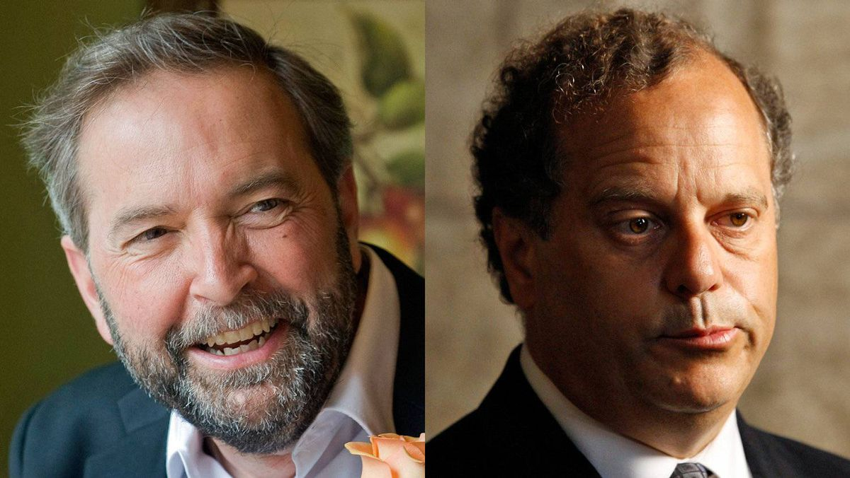 Deputy NDP leader Thomas Mulcair and party president Brian Topp are shown in a photo combination.