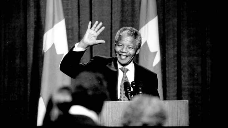 Nelson Mandela at a state dinner on June 18, 1990, during his visit to Toronto.