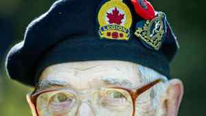 A Second World War veteran attends Remembrance Day ceremonies in Montreal on Nov. 11, 2010.
