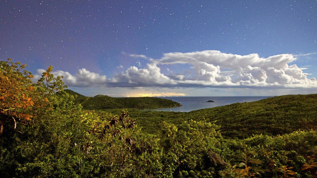 The stars glow over Saltpond Bay (note: picture taken with a 30-second exposure).