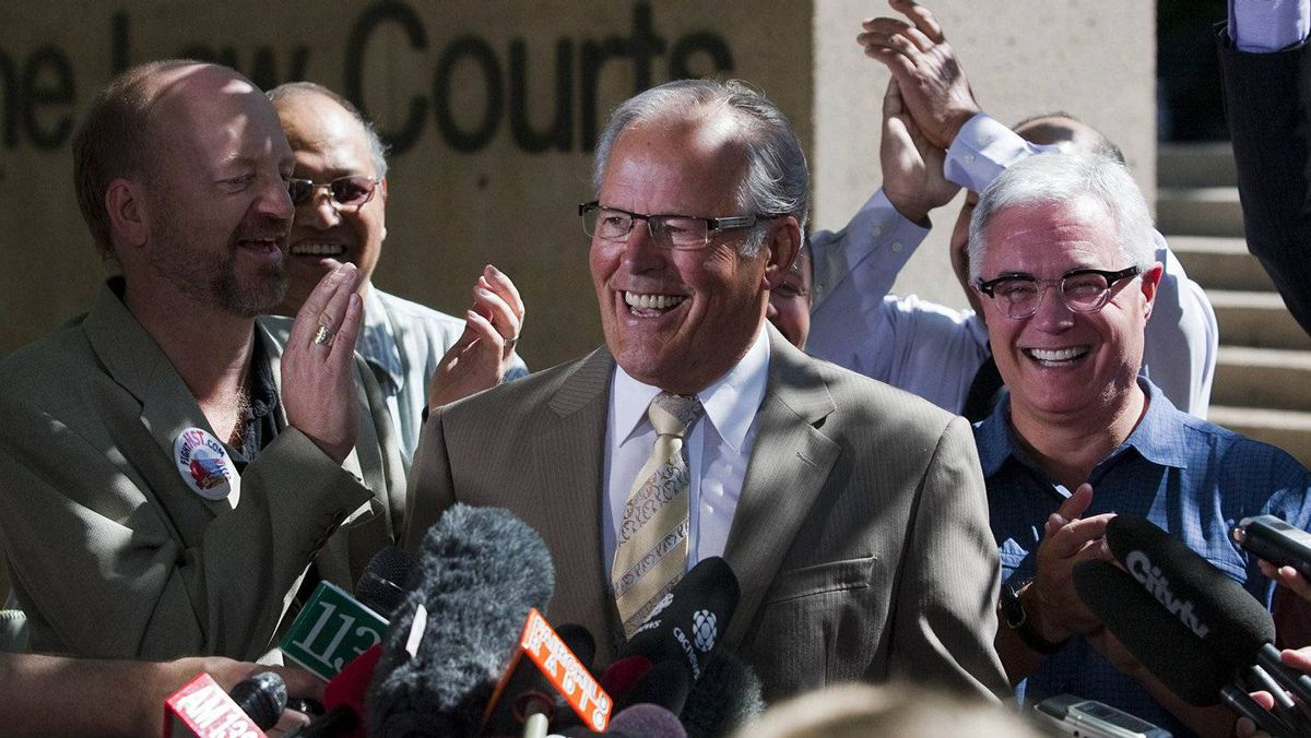 Former British Columbia Premier Bill Vander Zalm (C) celebrates the result of the Harmonised Sales Tax (HST) referendum vote outside the Law Courts with fellow supporters Bill Tieleman (L) and Chris Delaney in Vancouver, British Columbia August 26, 2011.