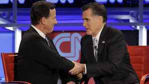 A Feb. 22, 2012, file photo shows Republican presidential candidate Mitt Romney, right, and fellow candidate Rick Santorum after a presidential debate in Arizona.