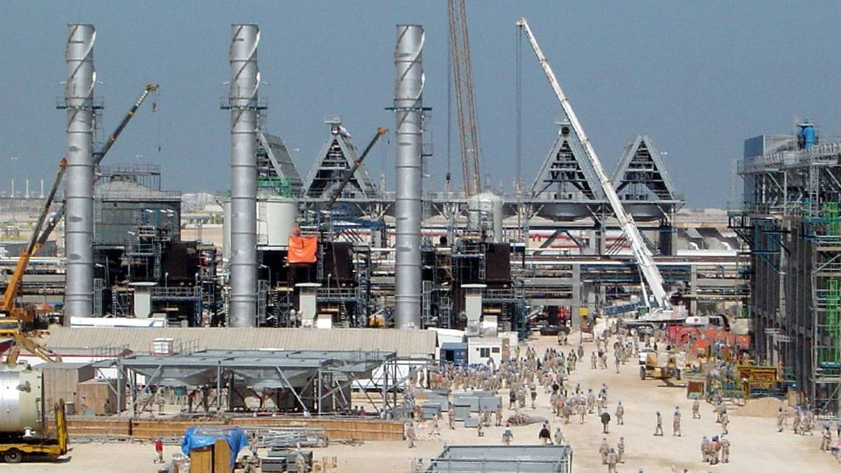 A gas-to-liquids plant that is co-owned by South Africa's Sasol is shown here under construction in Qatar