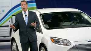 Ford executive chairman William Clay Ford unveils a new electrified 2011 Ford Focus Monday in Detroit.