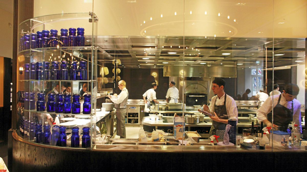 The kitchen at Dinner by Heston Blumenthal, the restaurant is found inside the Mandarin Oriental hotel.