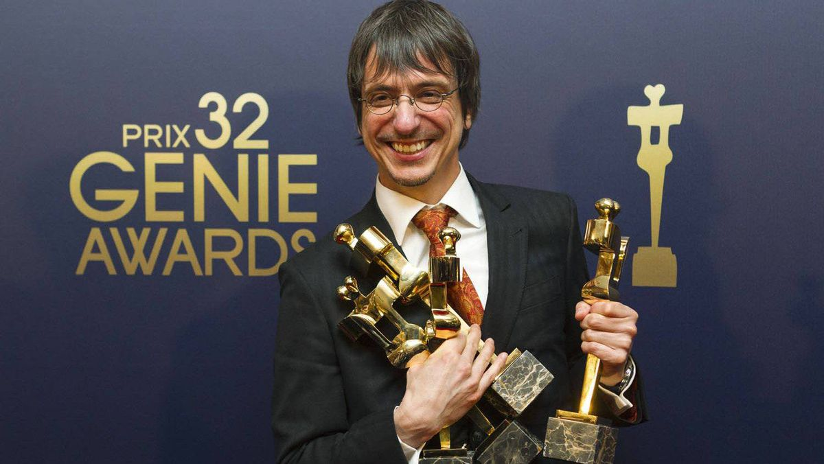 Director Philippe Falardeau with his awards for Monsieur Lazhar.
