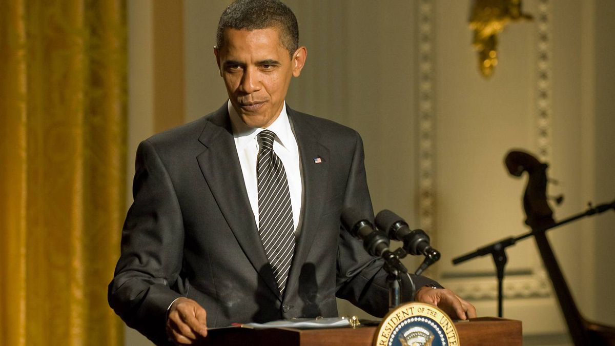US President Barack Obama speaks before an evening of music, poetry and the spoken word in the East Room of the White House in Washington on May 12, 2009.