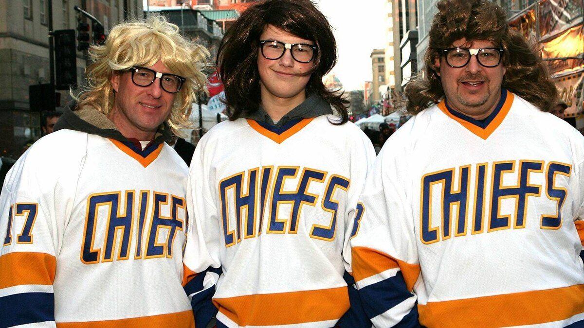 Fans dressed as the 'Hanson Brothers' pose outside the NHL Fan Fair part of 2011 NHL All-Star Weekend at the Raleigh Convention Center on January 28, 2011 in Raleigh, North Carolina. (Photo by Bruce Bennett/Getty Images)