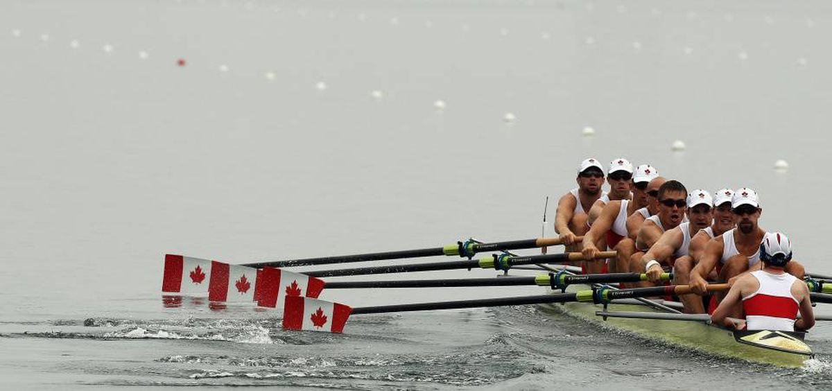 (L-R) Canada's Kevin Light, Ben Rutledge, Jake Wetzel, Malcolm Howard, Dominic Seiterle, Adam Kreek, Kyle Hamilton and Brian Price compete in the men's eight at the Shunyi Rowing and Canoeing Park during the 2008 Beijing Olympic Games in Beijing on August 11, 2008. The rowing heats and finals will all be staged in mid-afternoon with the temperature topping 30 Celsius, combined with 75 percent humidity.