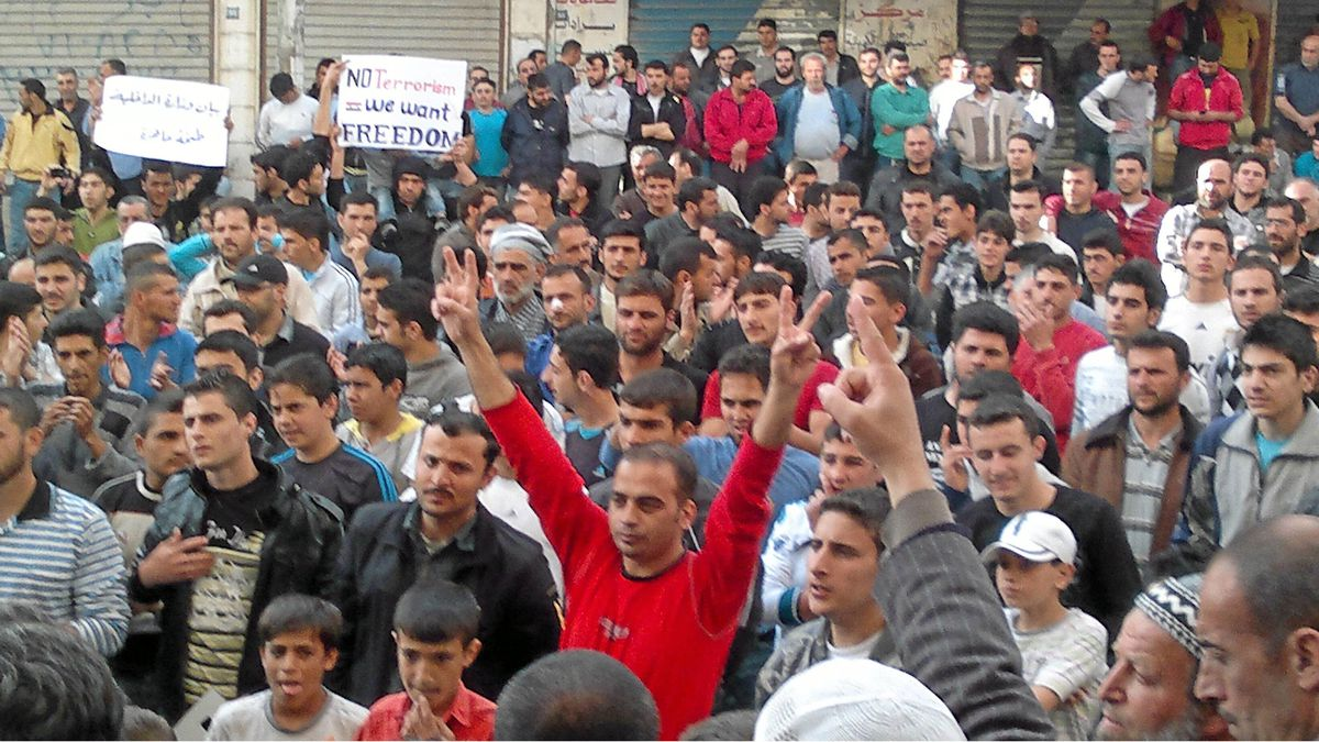 Syrians protest in the city of Banias on April 19, 2011.