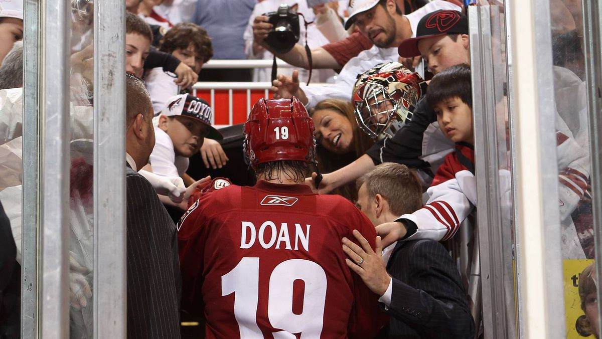 Shane Doan of the Phoenix Coyotes walks off the ice after being defeated by the Detroit Red Wings.