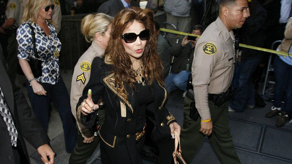 LaToya Jackson, Michael Jackson's younger sister, arrives for the reading of the verdict in Dr. Conrad Murray's trial in Los Angeles. Murray was found guilty on Monday of involuntary manslaughter in the pop star's death.