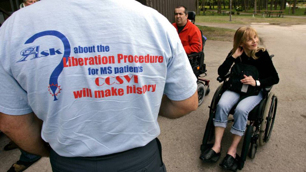 Demonstrators gather in Montreal in May to pressure governments to approve 'liberation therapy,' an experimental treatment for multiple sclerosis.
