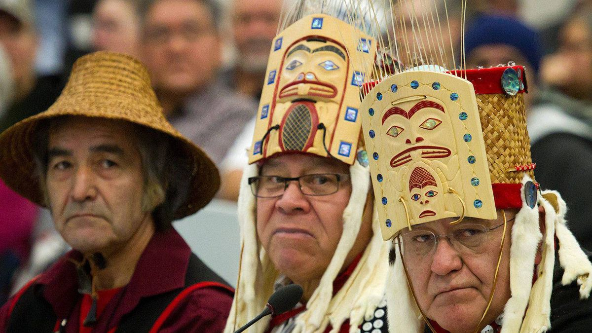 Haisla First Nation Hereditary Chiefs Clifford Smith, from left, Rod Bolton and Sam Robinson look on while addressing the panel during the opening day of hearings for the Enbridge Northern Gateway Project in Kitimaat Village, B.C., on Tuesday January 10, 2012.