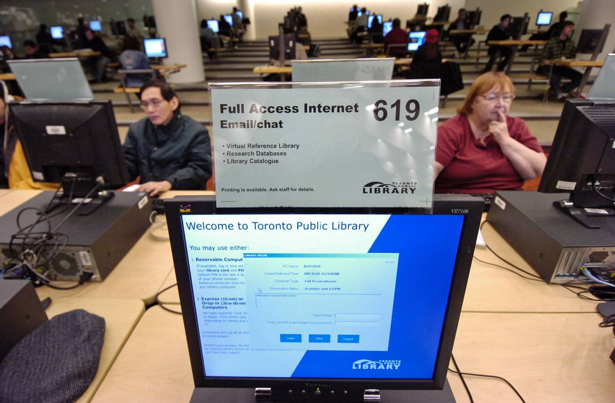 Toronto Reference Library patrons use computers with public Internet access in January of 2007.