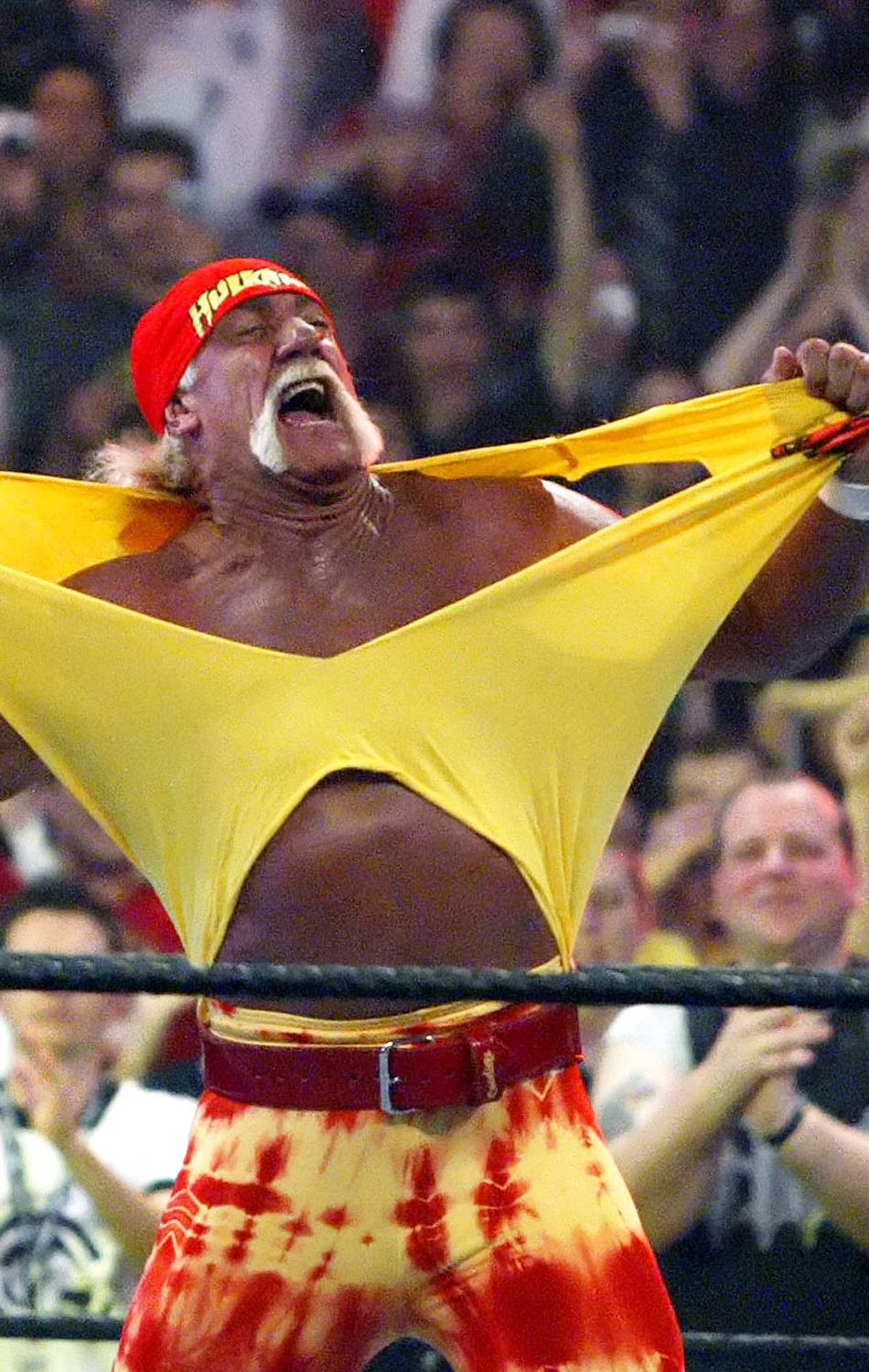 10. Hulk Hogan Okay, forget those bulging, monstrous muscles and startling grunts emerging from this man. If you met Hulk Hogan in a dark alley sans stache, would he be nearly as intimidating? We say nay.