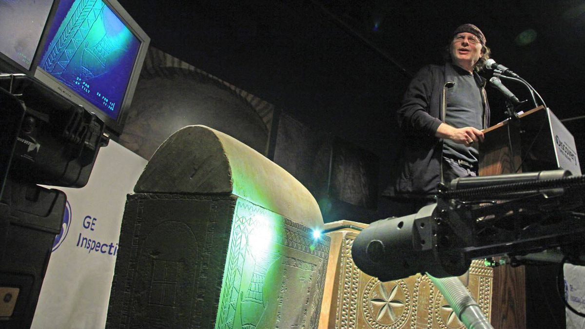 Documentary filmmaker Simcha Jacobovici discusses an archaeological discovery related to Jesus on Tuesday, Feb. 28, 2012.He showed replicas of ossuaries, or bone boxes, they examined using a special fiberoptic robotic camera in a Jerusalem tomb.