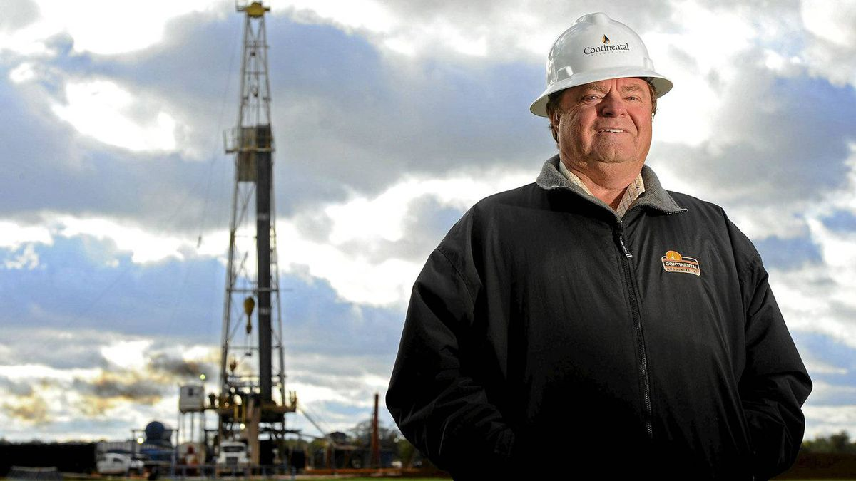 Harold Hamm, chairman of Continental Resources Inc., stands for a photo near an oil rig outside Watonga, Oklahoma, U.S., on Wednesday, Oct. 22, 2008.