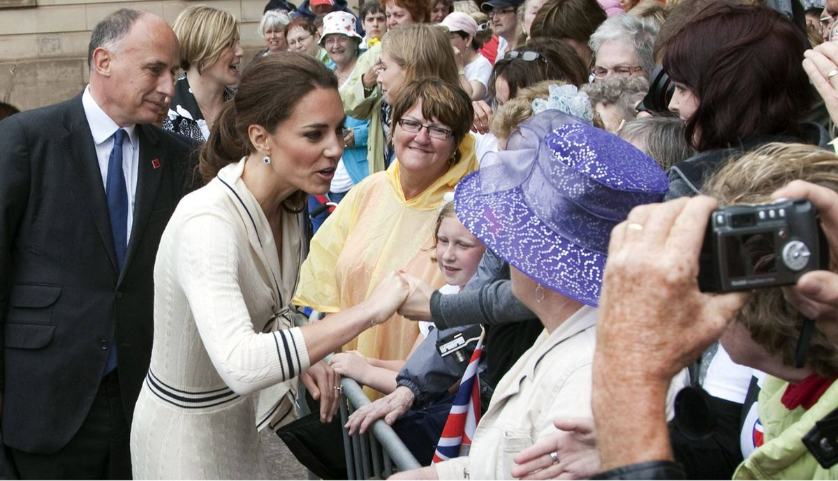The Duchess of Cambridge greets well wishers at Province House Monday, July 4, 2011 in Charlottetown, P.E.I.