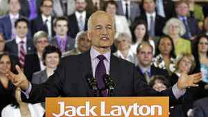 NDP Leader Jack Layton delivers a speech to his caucus in Ottawa on May 24, 2011.