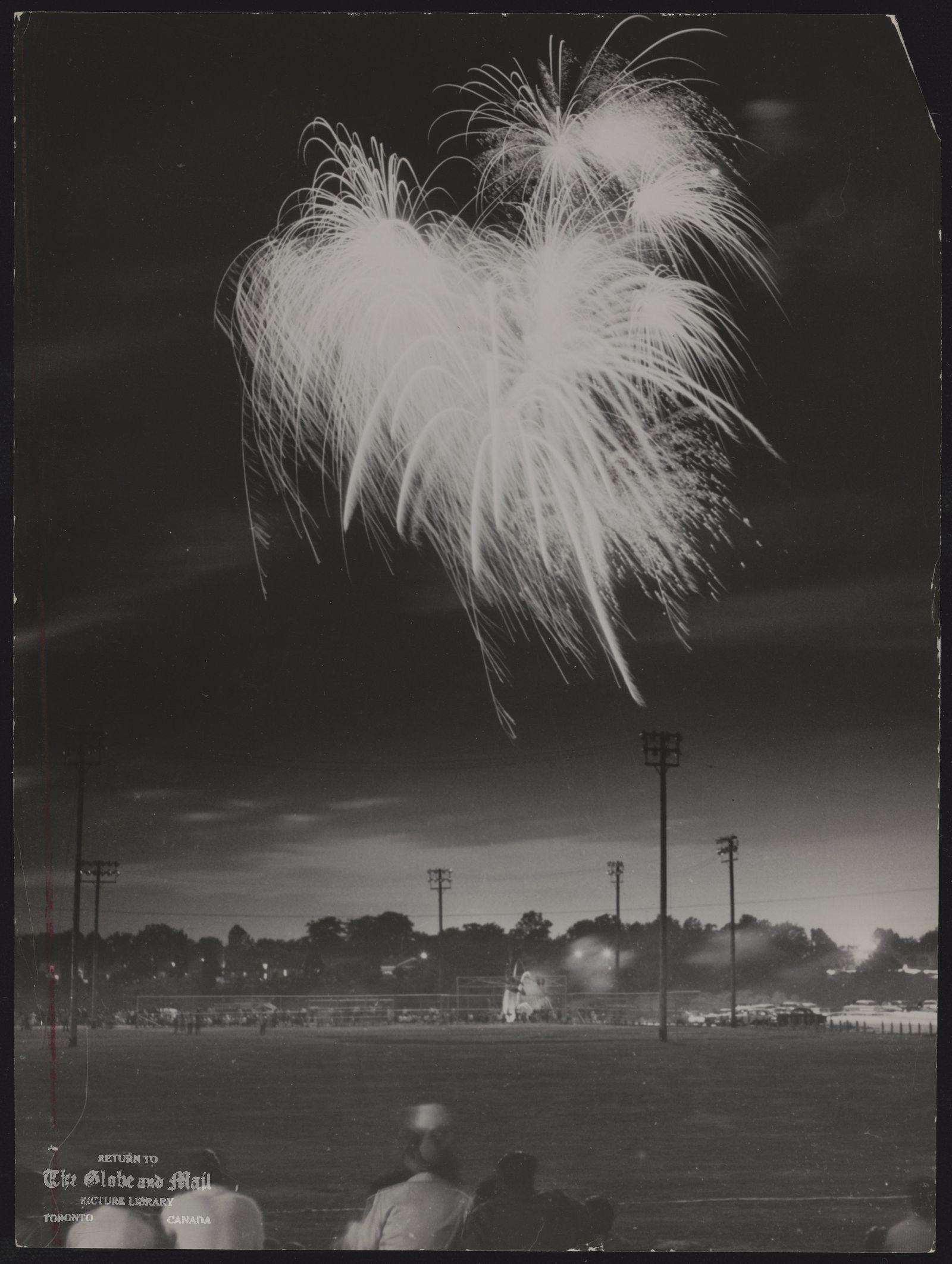 FIREWORKS (LF) [July 1, 1960], fireworks over Cedarvale Park mark DOMINION DAY