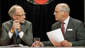 CBC president and CEO Hubert LaCroix, left, talks to Tim Casgrain in Ottawa, Sept. 23, 2009. Mr. Casgrain is stepping down as chair of the CBC's board of directors.