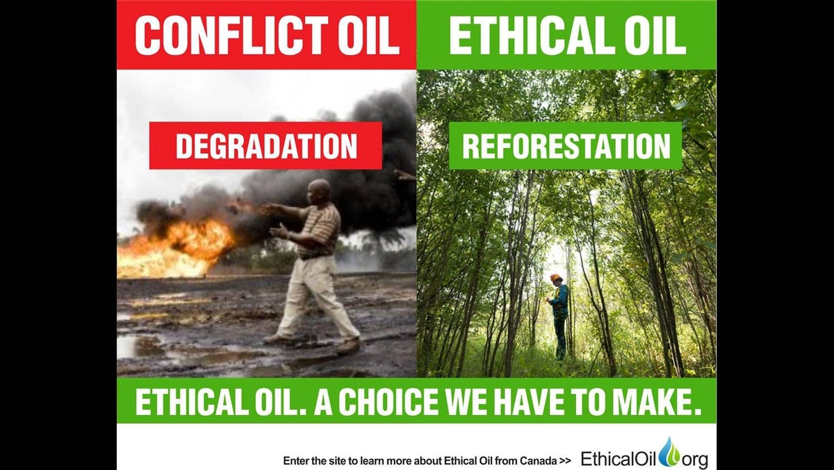 The EthicalOil.org site claims consumers should choose between oil producers who ravage their environments and oil producers who clean up their messes. Pictured here is an oil field in the Niger Delta and also a reclaimed, reforested Syncrude site in Western Canada.