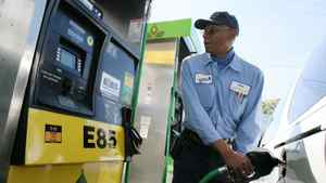 A driver tanks up at an ethanol fuel station in the Los Angeles area.
